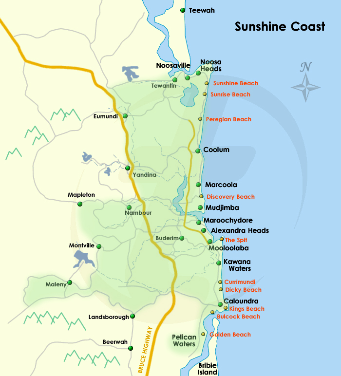 map of sunshine coast for electrical services from caloundra